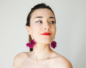 Statement Jewelry Statement Earrings Floral Earrings Boho Earrings Gold Earrings/ CICIRI