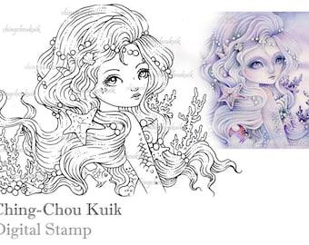 Embrace The Ocean - Digital Stamp Instant Download / Seashell Coral Pearl Mermaid Fairy Girl Fantasy Art by Ching-Chou Kuik