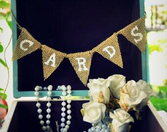 Mini Cards sign.Burlap