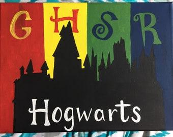 "Hogwarts House Canvas 8x10"""