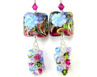 Floral Lampwork Earrings, Blue Purple Fuchsia Glass Bead Earrings, Flower Earrings, Colorful Earrings, Crystal Earrings  - Celebrate Spring