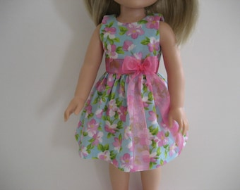 14.5 Inch Doll Clothes - Pink Blossoms Dress made to fit dolls such as the Wellie Wishers doll clothes