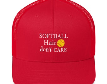 Softball Hair don't Care Baseball Trucker Cap Softball Lover Hat