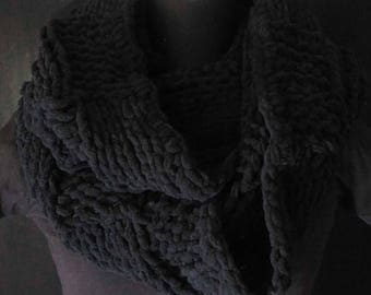 Acrylic Infinity Scarf-Circle Scarf- Black Colour Scarf-Hand Knit Crochet-Hand Craft-Christmas Gift-Winter Gift