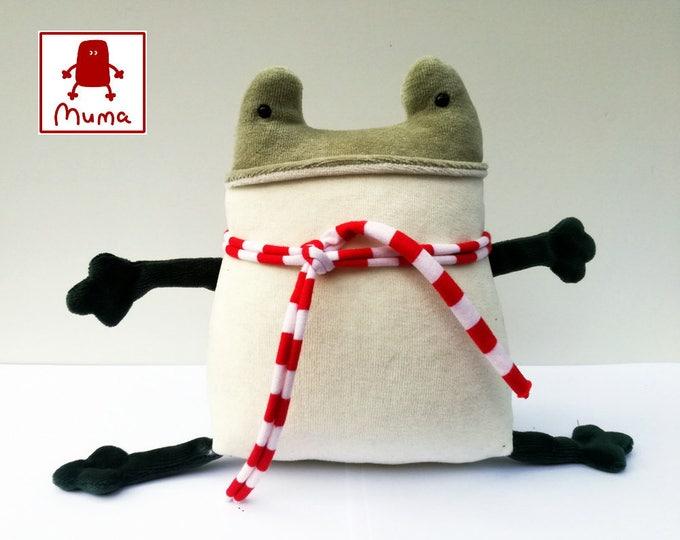 Muma Green Frog Plushie, Little Pocket Toad Stuffie Toy, Funny Frog Pocket Plush