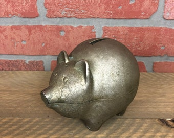 Vintage Metal Piggy Bank Industrial Coin Bank With Stopper