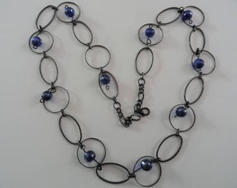 Necklace Black Metal Rings with Blue Glass Balls