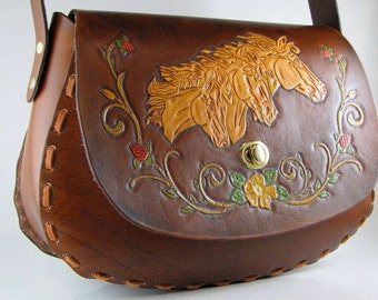 Hand Tooled Leather Purse Mustang Horse Bag Made to Order Hand Painted Leather Hand Carved Leather Custom Purse Leather Shoulder Bag