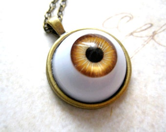 Brown Eyeball Necklace,Creepy Jewelry, Chunky Jewelry, Scary Jewelry, Halloween Gift,Trick or Treat, Fall Necklace, Autumn Necklace