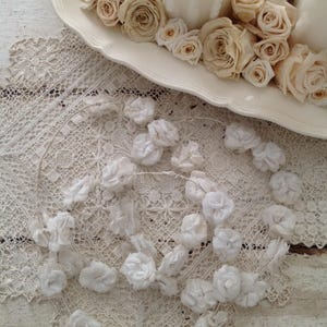 Collection of 3 White Antique French Flower Crown Tiaras