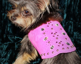 Leather Bling Dog Vest