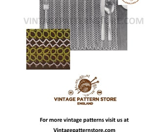 1960s, tatted lace dining place mats in 2 colours with centrepiece - Vintage PDF Tatting Pattern 1819