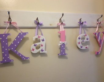Custom Hanging Kids Name Sign - Custom hand Painted Children's Name Sign - Hanging Nursery Wall Letters 5 Letters