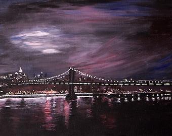 Manhattan Bridge After Sunset - Original Acrylic on Canvas Painting