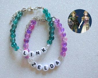 Link & Zelda OTP Bracelet Set - The Legend of Zelda Breath of the Wild Nintendo Triforce Ocarina of Time Majora's Mask Twilight Princess