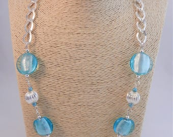 Light Blue Statement Necklace, Sky Blue Silver Necklace, Pale Blue Chunky Necklace, Light Blue Dress Necklace, Mothers Day, Birthday Gift