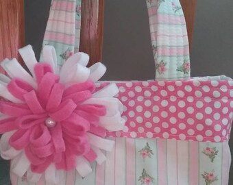 Little girl purse, pink flower purse, small girls purse, toddler girl purse, pink toddler purse,