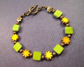 SALE - Picasso Beaded Bracelet, Lemongrass Green Squares and Yellow Daisies, Brass Beaded Bracelet, FREE Shipping U.S.