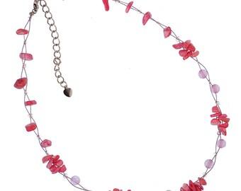 Ladies chain Pearl Necklace pearls design splitter, Stone Rose Quartz pink bundle of 42-48 cm nickel free (KK-140)