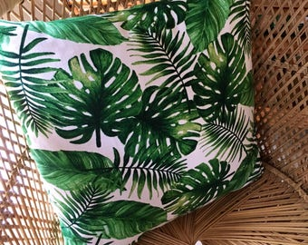 Jungalow Style Cushion Cover, Decorator Fabric, Made in Australia, Monstera Leaf, Foliage, Boho Style, Throw Pillow, Resort, Jungle, Plant