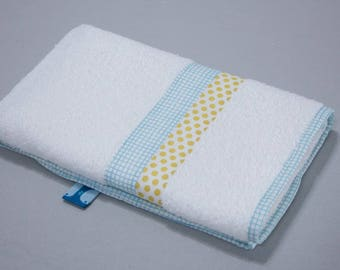 """Small towel """"Calf"""" - blue gingham & yellow dots"""