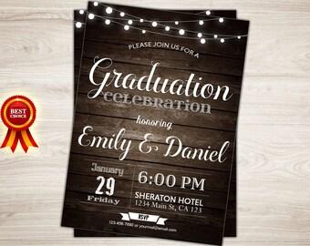 Rustic Graduation Invitation. Printable Graduation Announcement. College Graduation Invite. High School Graduation Party. Grad Celebration