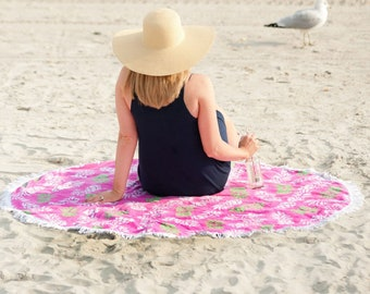 Pineapple Sand Circle Monogrammed Beach Towel, Personalized Summer Towels