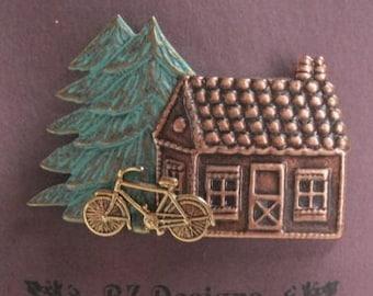Place du Nord cabine avec vélo et arbre Pin - un BZ conçoit Original - Northwoods - Nature - vélo