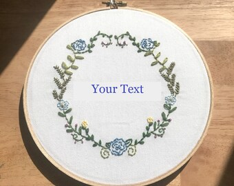 Hand Embroidered Wall Art Floral Wreath with text of your choice, Custom Embroidery, Wifi Password Art, Home Decor, Floral Wall Art