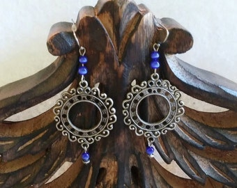 Scroll earrings with royal blue cateye beads