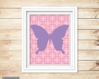 Butterfly Wall Art Girls Bedroom Pink Purple Nursery Playroom Printable 8x10 Digital JPG Instant Download (41-2)
