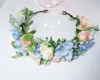 Dusty Blue Blush Flower Crown,Blue crown,Bridesmaid crown,Flower girl crown,Bridal flower crown,Wedding flower crown