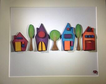 Wee houses wall art laser cut wood