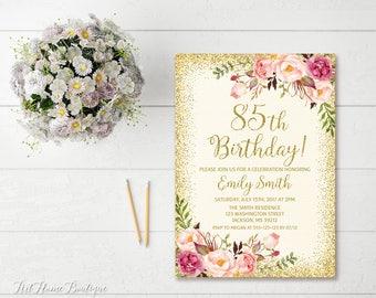 85th birthday invite etsy 85th birthday invitation any age women birthday invitation floral ivory and gold women birthday filmwisefo Choice Image