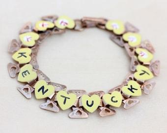 Kentucky Souvenir Bracelet, Kentucky Bracelet, Souvenir Bracelet, Enamel Bracelet, Word Bracelet, Yellow Bracelet