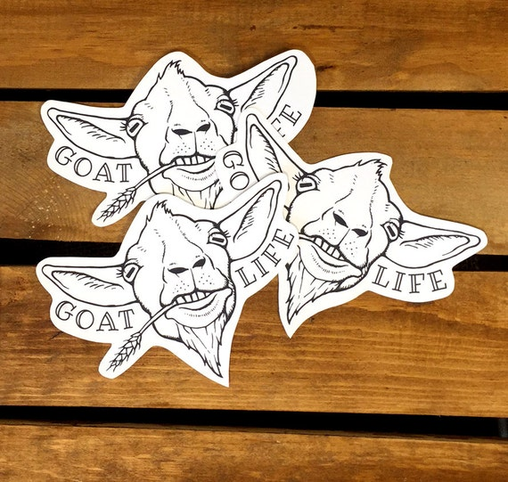 3 goat stickers goat life die cut stickers hipster