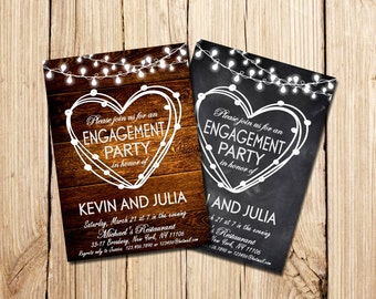Rustic Engagement Invitation, Engagement Party Invitation, Engagement Party, Chalkboard Engagement invitation, Engagement Party, Printable