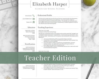 Teacher resume etsy teacher resume template for word pages teacher cv template elementary resume teaching altavistaventures Images