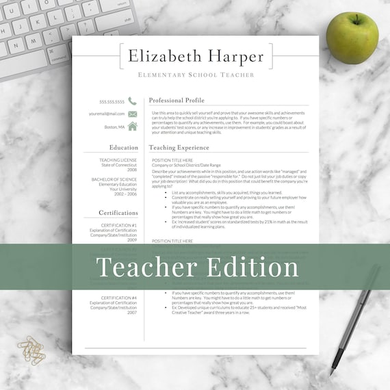 Teacher Resume Template For Word U0026 Pages | Teacher CV Template, Elementary  Resume, Teaching Resume, Administration Resume | Instant Download