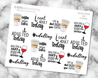 Adulting Planner Stickers perferct for Erin Condren, Kikki K, Filofax and all other Planners
