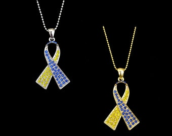 Crystal Blue Yellow Ribbon Bow Down's Down Syndrome DS Trisomy 21 Awareness Necklace Silver Tone Gold Tone