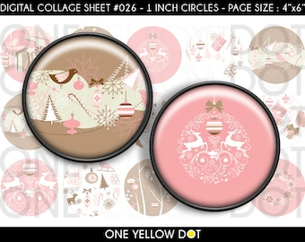 INSTANT DOWNLOAD - 1 Inch Circles Digital Collage Sheet - Pink Brown Christmas - Bottle Caps Scrapbooking Pendant Magnets Tags - 026