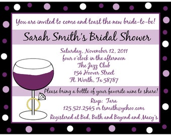 50 Personalized Bridal Shower Invitations   Wine and Ring  - Purples