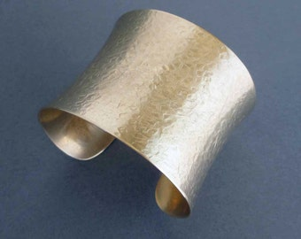 Textured Gold Cuff Bracelet Hammered Brass Wide Cuff Bracelet Ancient Egyptian Jewelry Boho Chic Greek Jewelry in Size Small or Medium