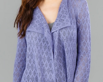 Bamboo Lace Cardigan - Periwinkle