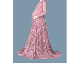 Maternity Dress for Photo Shoot-Lace Maternity Gown-Maternity Photo Shoot Dress-Long Sleeves Maternity Dress for Baby Shower-ELENA