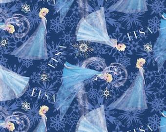 Disneys Holiday Frozen on Blue Cotton Fabric Springs Creative Fabrics