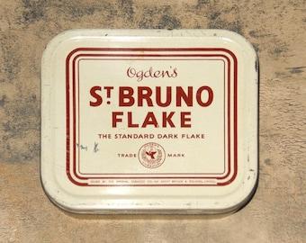 Ogden's Tobacco Tin, Vintage St. Bruno Flake Tin, Vintage Tobacco Tins, Tin, Tobacco Collectibles, Tobacciana by NewYorkMarketplace on Etsy