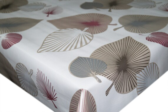 Beige Tropical Palm Leaves PVC Vinyl Tablecloth Dining Kitchen
