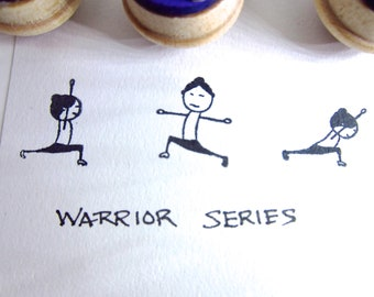 Yoga Stamps - Set of 3 warrior poses rubber stamps Virabhadrasana SMSET3 Y017